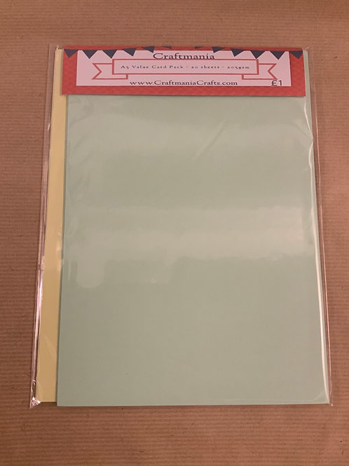 A5 Card Pack - 20 sheets - 10 Lemon  & 10 mint