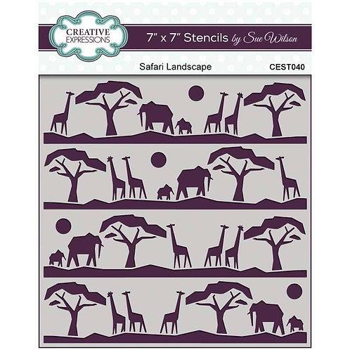 """Safari Landscapes - 7""""x7"""" Stencil"""