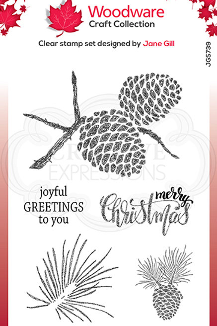 Woodware - Clear Stamp - Sketchy Pine Cones