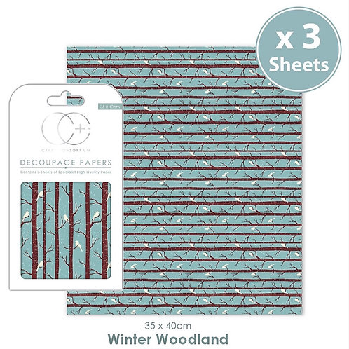 Decopatch papers - 3 sheet pack - Winter Woodland