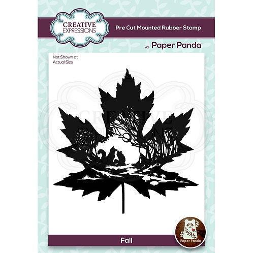 Paper Panda - Fall  - Rubber Mounted Stamp*