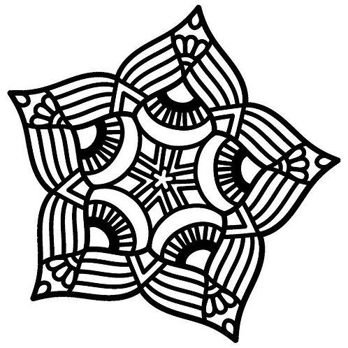 Five Point Mandala Stencil
