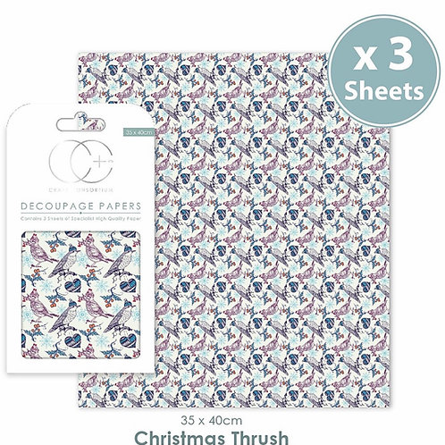 Decopatch papers - 3 sheet pack - Christmas Thrush