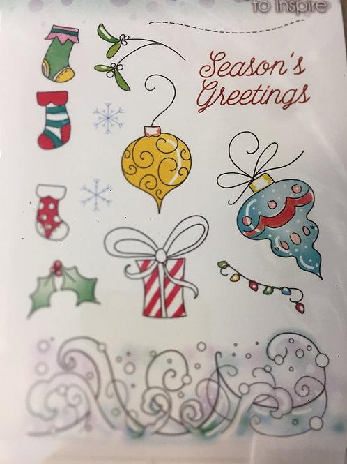 Cedar stamp - Christmas embellishments - A6