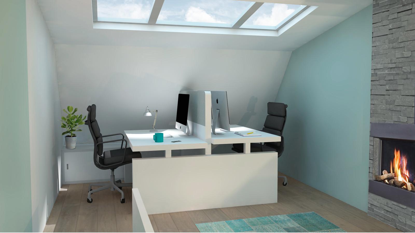 Kantoor Aan Huis : Kantoor aan huis met lampen bank met witte muur achtergrond foto