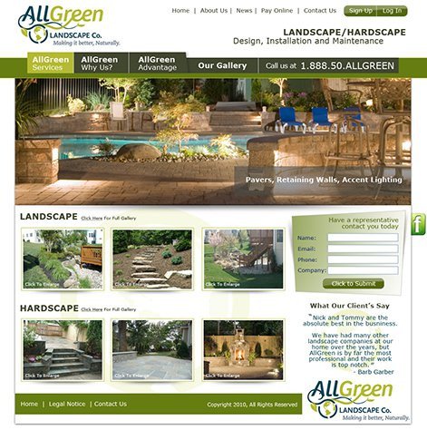 - All Green Landscaping Website Design And CMS