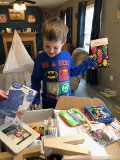 Hudson receives his Creative Care Packag