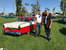 Playing the part with our 1955 Ford Fairlane Crown Victoria at a benifit car show in Palm Springs. Proceeds to homeless Gay youth and Car won Sanctuaries Choice Award!