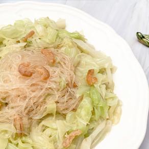 椰菜蝦米炒粉絲