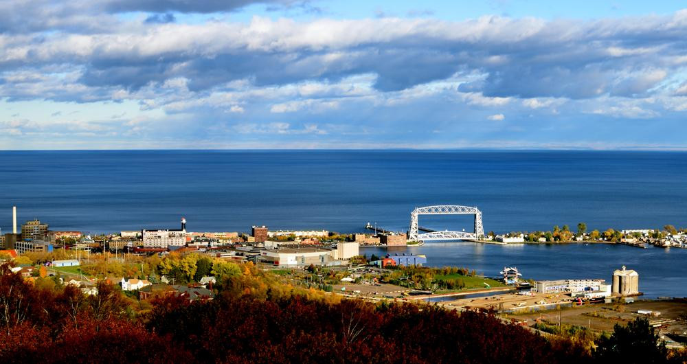 View of aerial lift bridge in Duluth MN