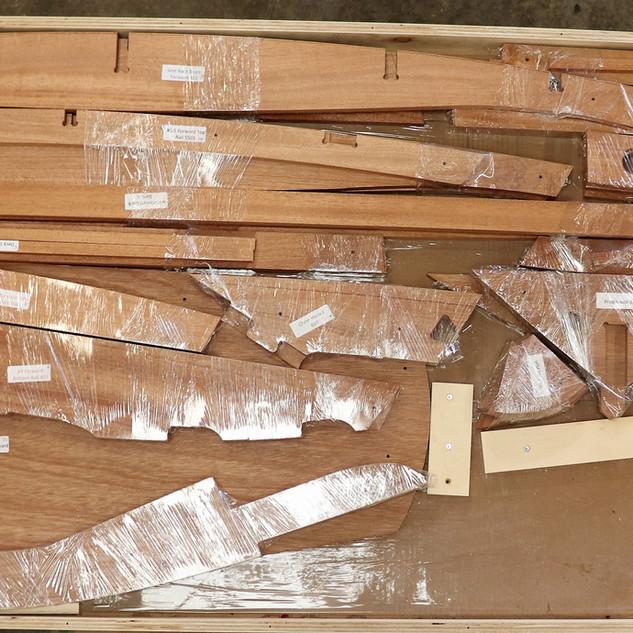 Hardwood boat kit frame parts