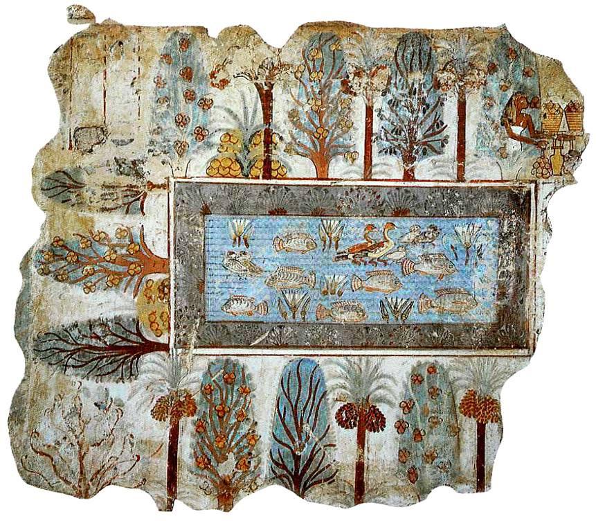 """""""O jardim"""", afresco do túmulo de Nebamun, originalmente em Tebas, Egito, agora no Museu Britânico, Londres, Reino Unido Pintura em gesso, 72 x 62 cm"""