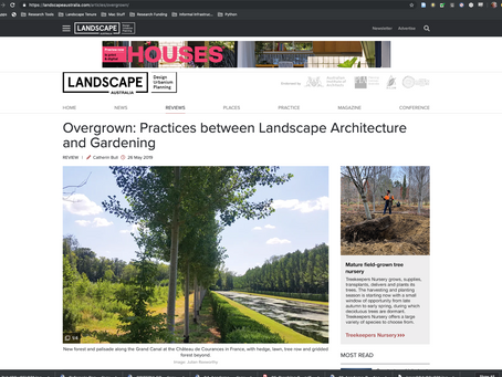 REVIEW: Overgrown reviewed in Landscape Australia