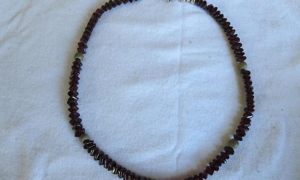 Garnet & Jasper Necklace with Silver Beads & Silver Clasp