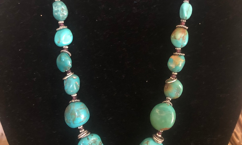 Turquoise Necklace (unstabilized) with tiny Garnets and Silver
