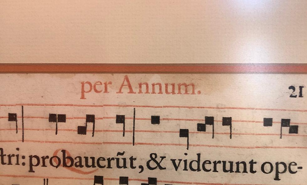 Framed Gregorian Chant Sheet Music~15th/16th Century