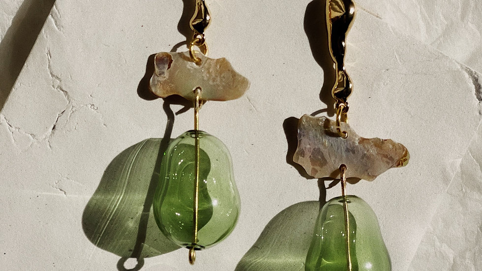 Abalone and glass drop earrings