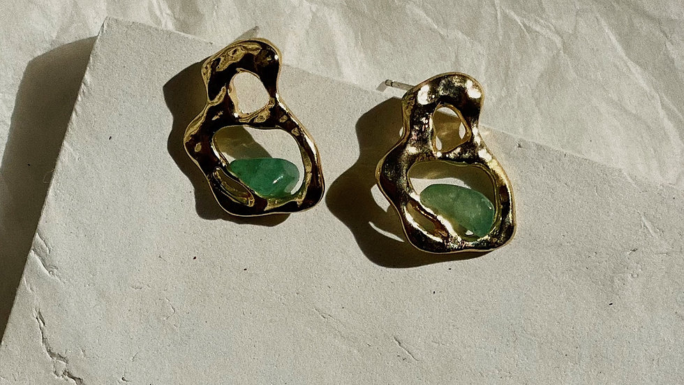Aventurine gold free form stud earrings
