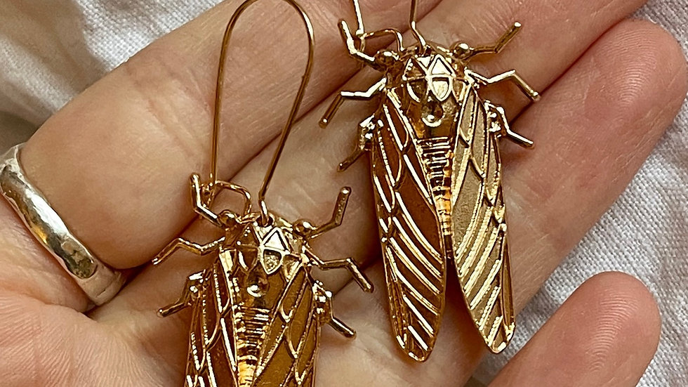 Cicada drop earrings