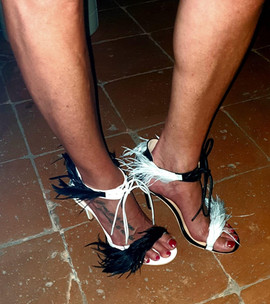 Miki wears mismatched Magpie sandals by Gen Nee (Italy May 2020)