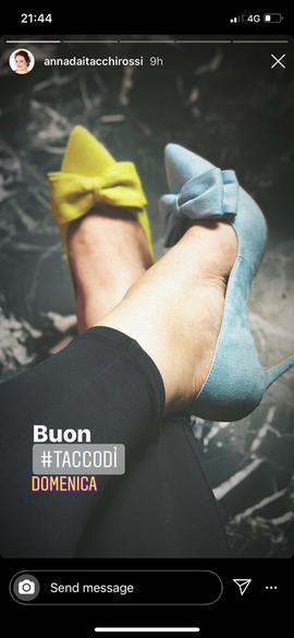 Anna wears mismatched Blue pumps by Gen Nee (Italy, May 2020)