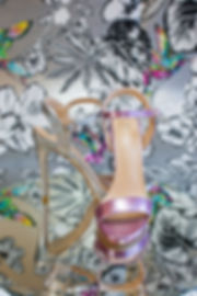 10 cm heel sandals with ankle strap in mismatched dual tone, silver and metallic pink. https://www.gen-nee.com