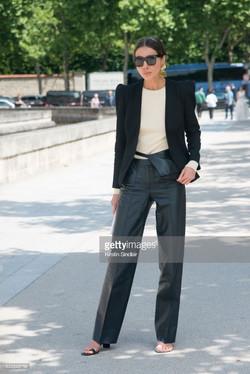 Julie Pelipas with mismatched heeled sandals