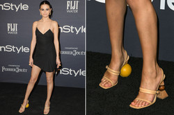 Selena Gomez in mismatched shoes