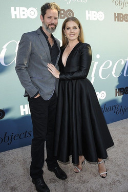 Amy Adams with Camelle mismatched heeled sandals by Calvin Klein