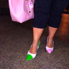Silvia wears her mismatched Pois Zebra chanel slingback by Gen Nee (Italy, May 2020)