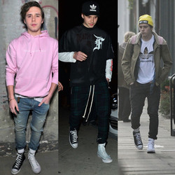 Brooklyn Beckham in mismatched shoes