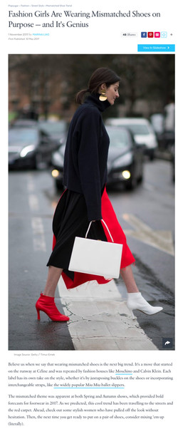 The mismatched shoes trend