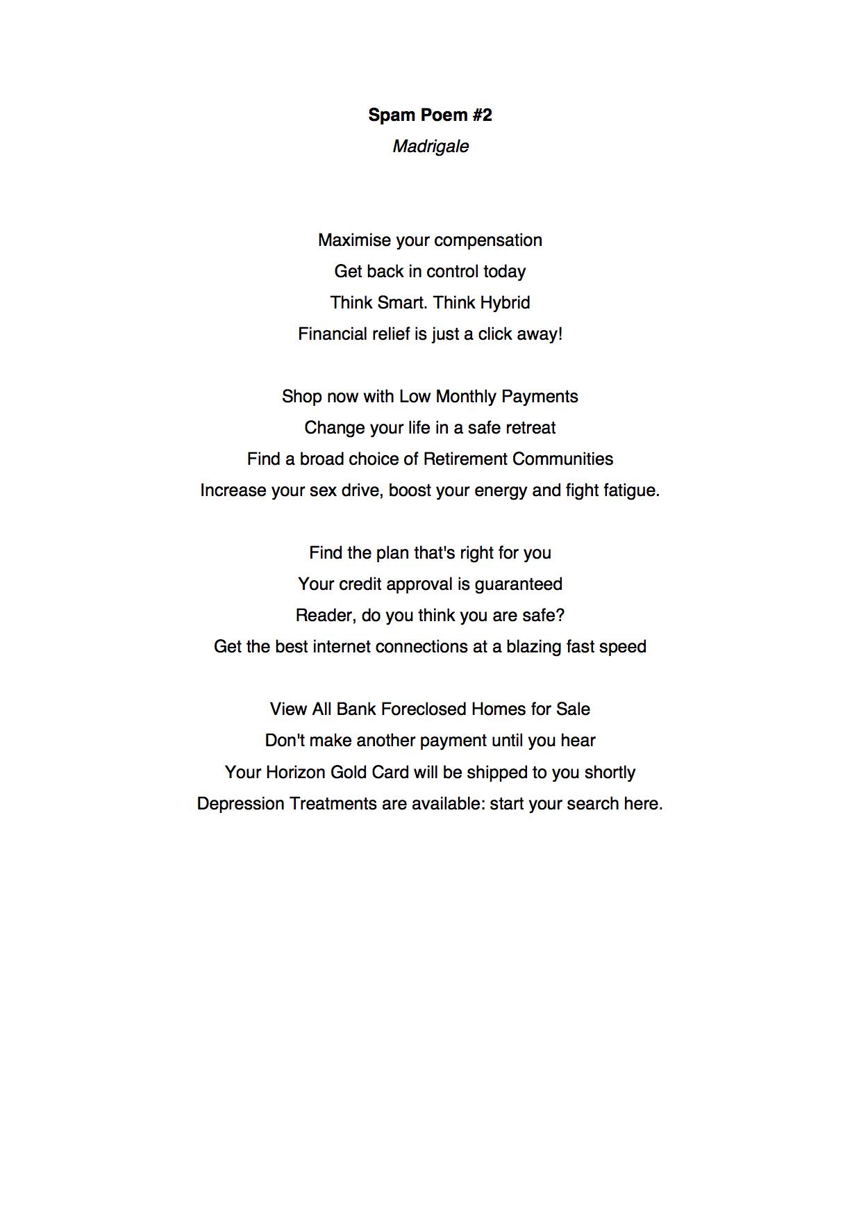 Spam Poem MADRIGALE
