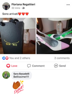 Floriana shows an image of her Pois Zebra chanel slingback by Gen Nee just received (May 2020, Italy)