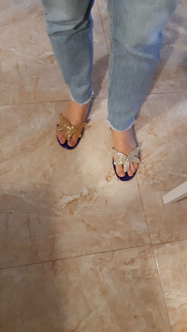Angela wears mismatched Starfish fli-flop sandals by Gen Nee (May 2020, Italy)
