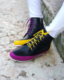 Gen Nee mismatched high sneakers yellow