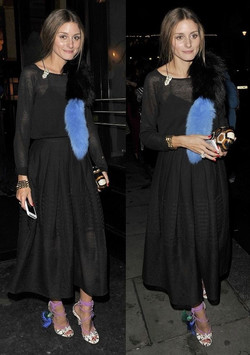 Olivia Palermo experiments with Jimmy Choo mismatched details heeled sandals