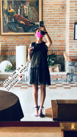 Clara wears mismatched Magpie sandals by Gen Nee (Italy May 2020)