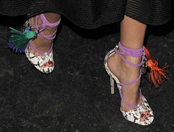 Olivia Palermo experiments with Jimmy Choo mismatched details shoes