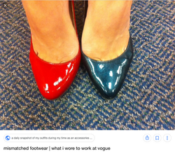 Mismatched shoes at Vogue