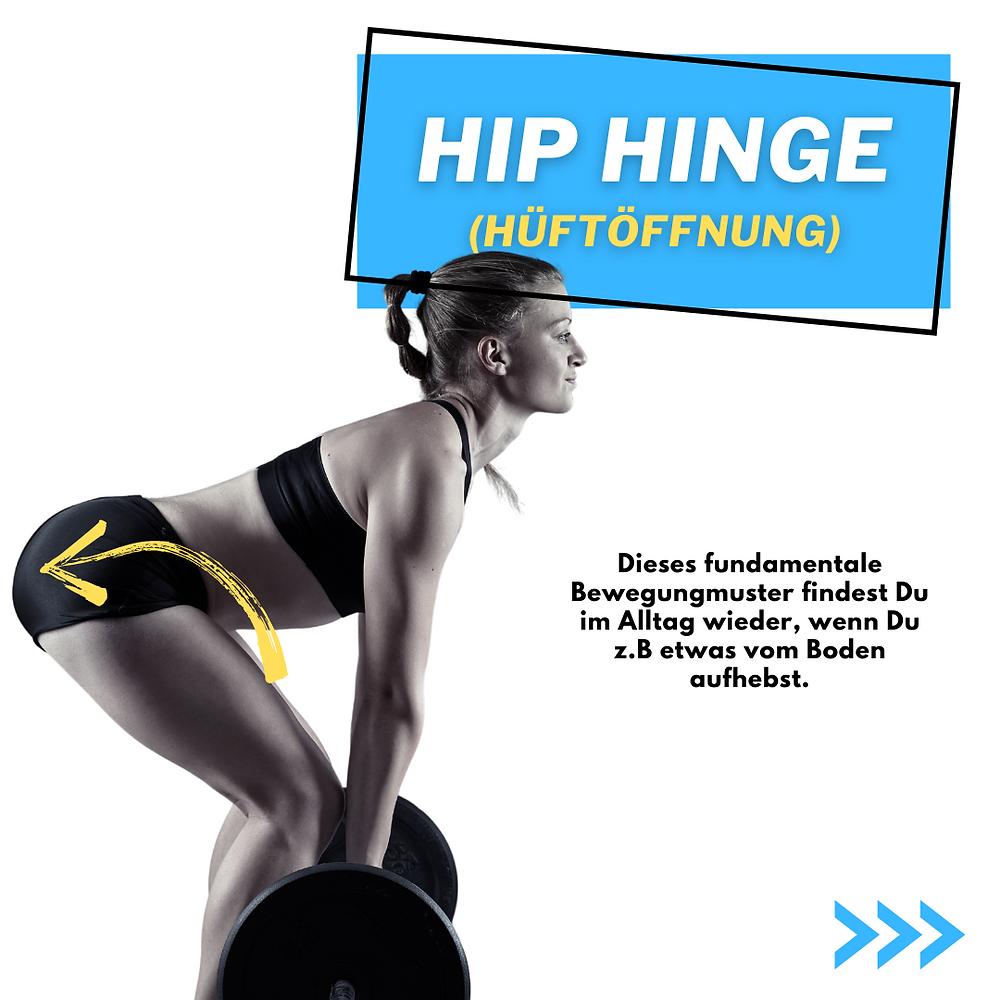 Hip Hinge oder Kreuzheben. Mehr Kraft beim Haushalt wie Staubsaugen oder etwas vom Boden aufheben. Starker Rücken keine Rückenschmerzen mehr.