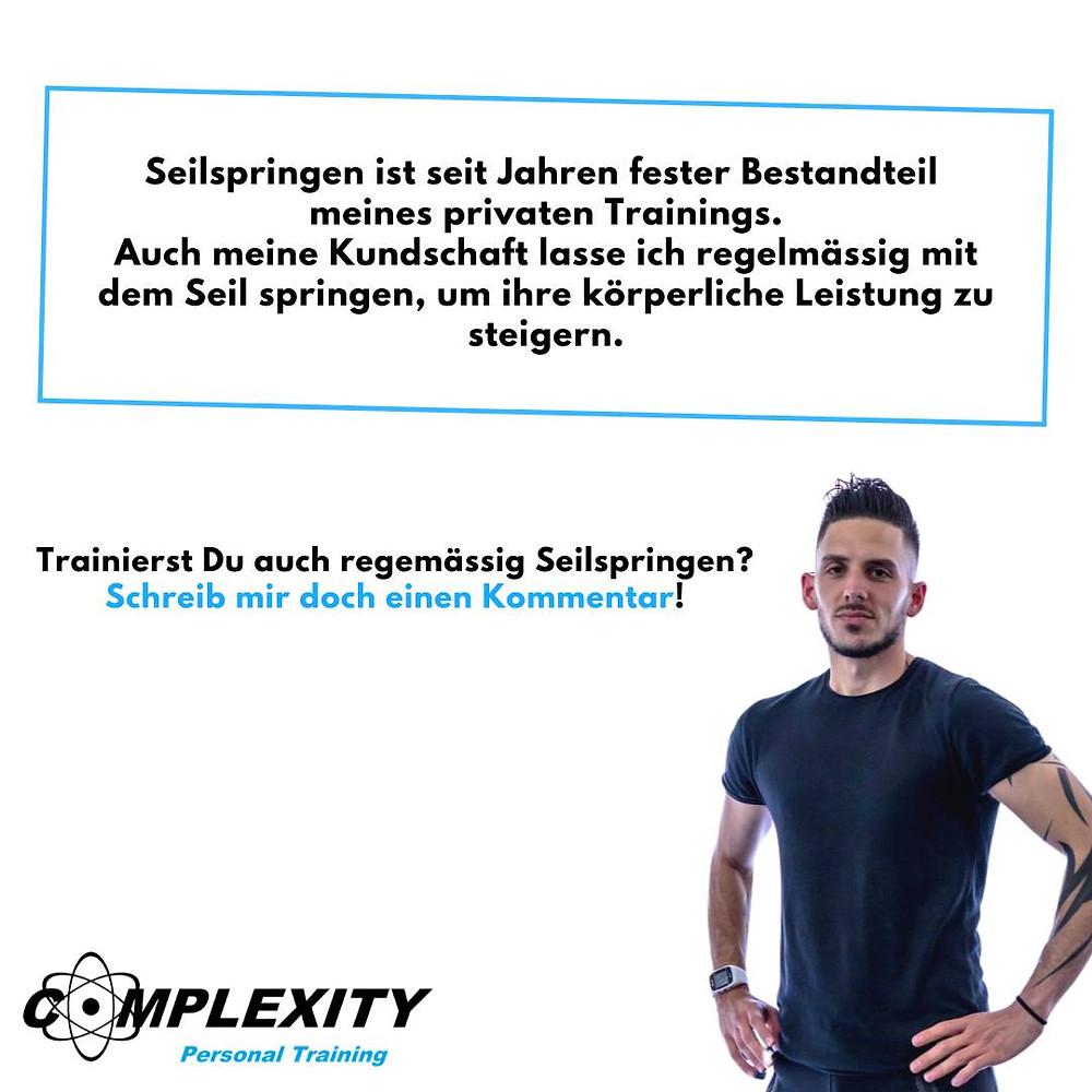 Als Personal Trainer in Schaffhausen lasse ich meine Kunden regelmässig Seilspringen, um ihre körperliche Leistung zu steigern. Dadurch wirst Du Fit und unterstützt den Fettabbau.