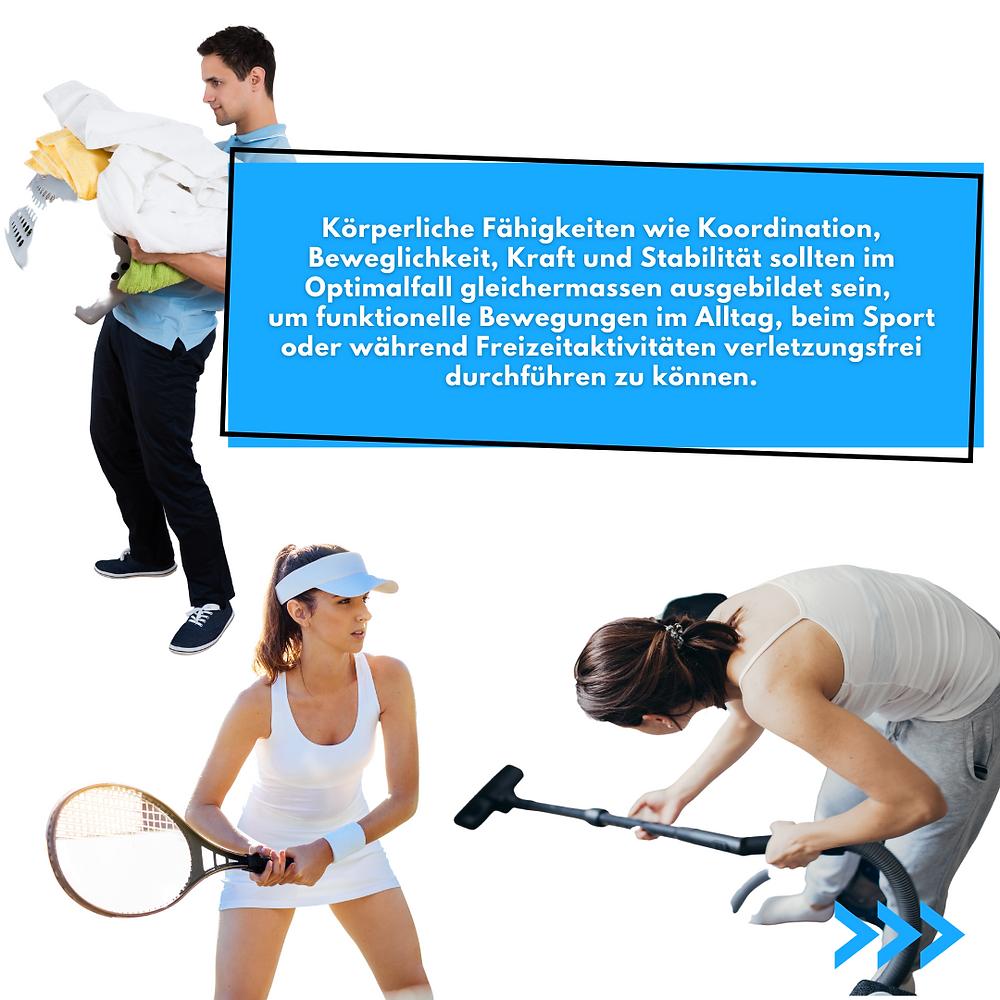 Körperliche Fähigkeiten sollten im Optimalfall gleichermassen ausgebildet sein, um funktionelle Bewegungen im Alltag oder im Sport verletzungsfrei durchführen zu können.