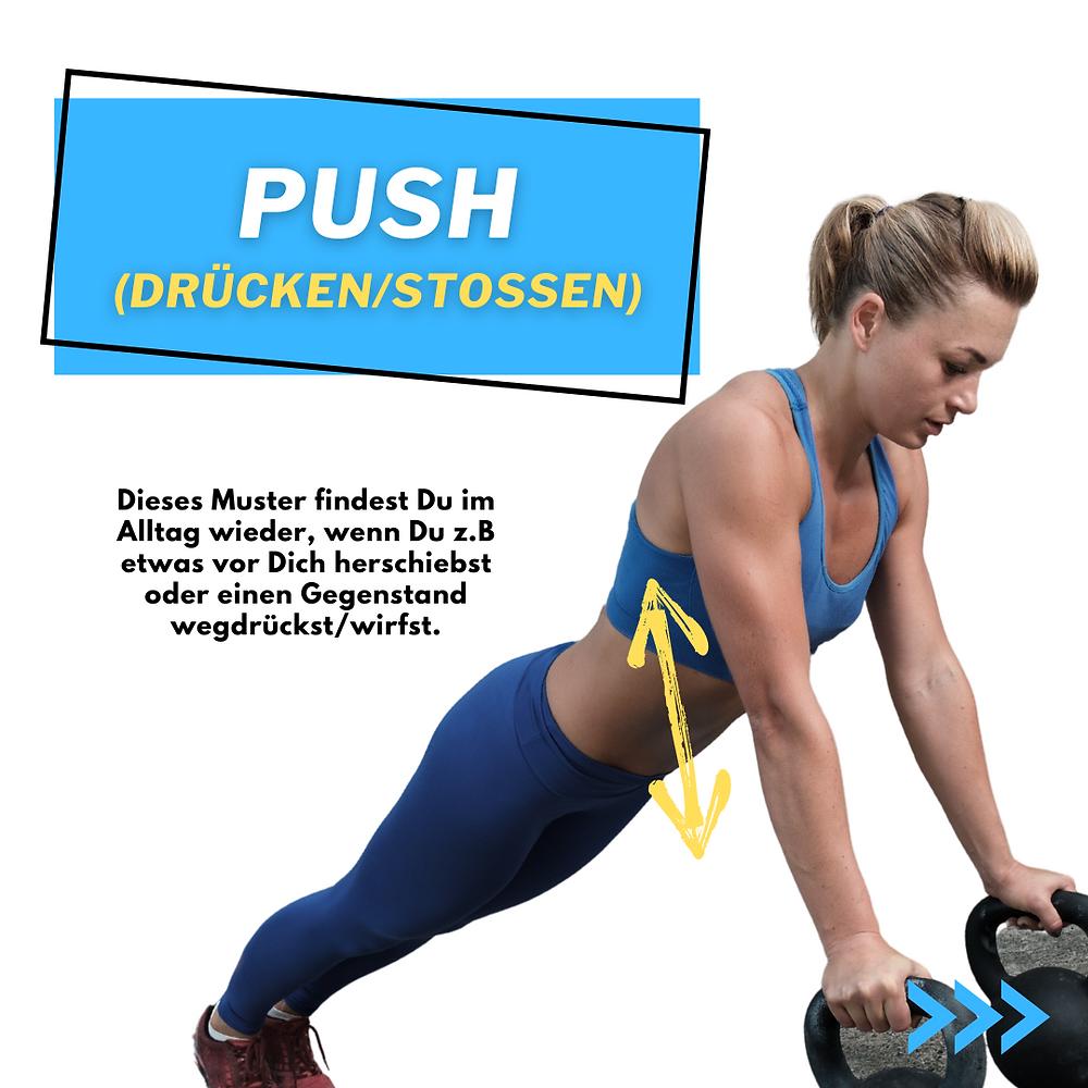 Mehr Push Ups. Mehr Liegestütze schaffen. Mehr Kraft wenn du einen Gegenstand wegdrückst.