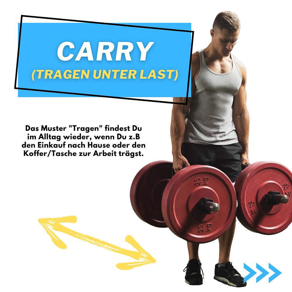Carry, Tragen unter Last. Mehr Kraft beim Tragen. Einkäufe nach Hause tragen oder Koffer zur Arbeit tragen