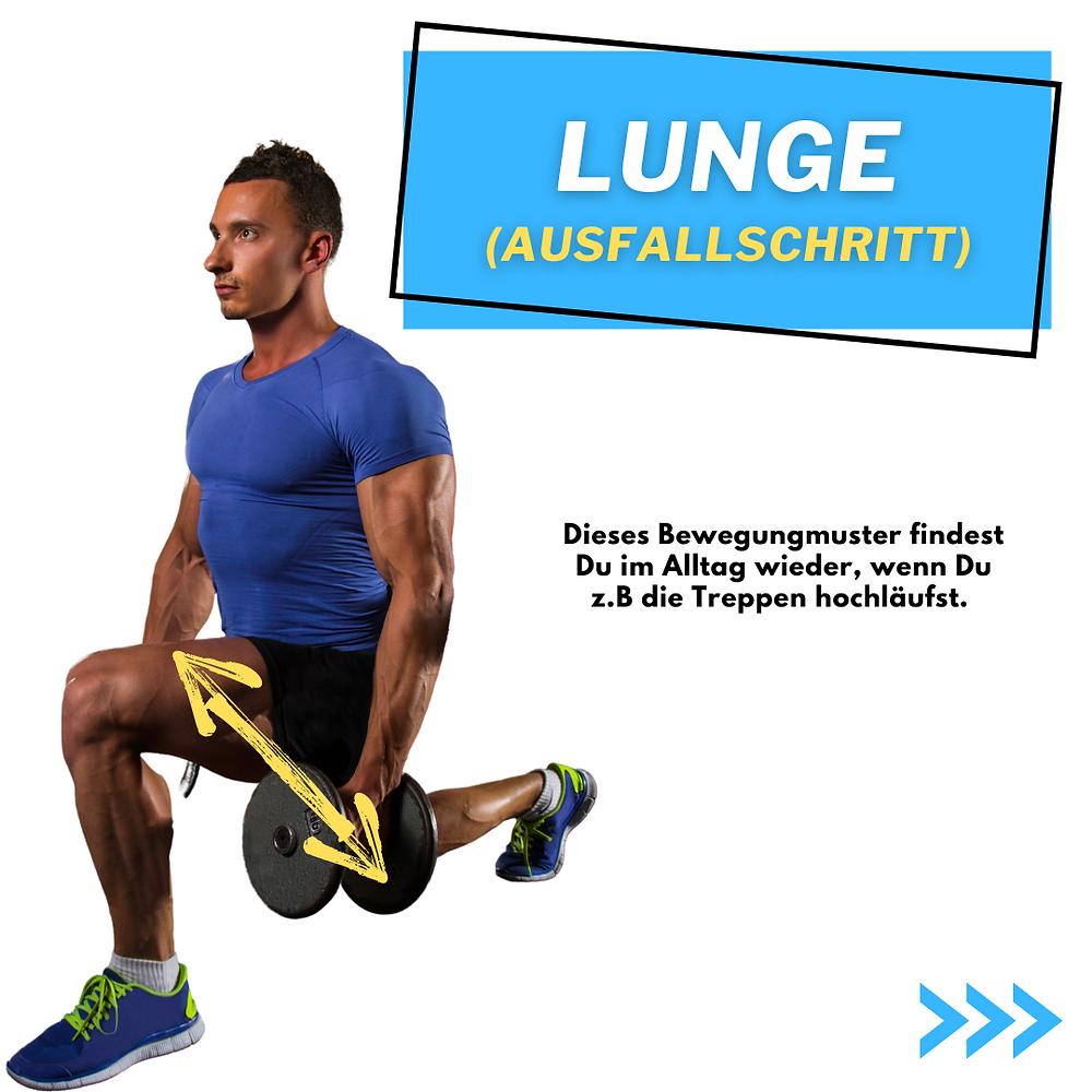Lunge oder Ausfallschritte im Training. Stärker werden beim Treppen hochlaufen. Beinmuskulatur