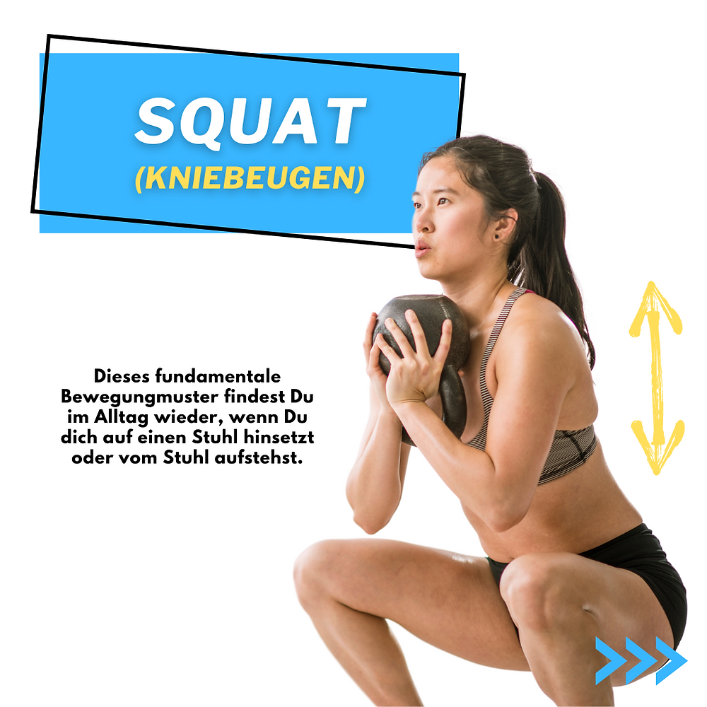 Kniebeugen oder Squat. Mehr Kraft beim hinsetzen oder vom Stuhl aufstehen. Unterkörpertraining