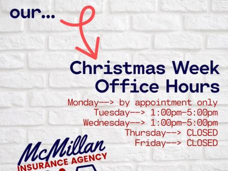 Christmas Week Office Hours