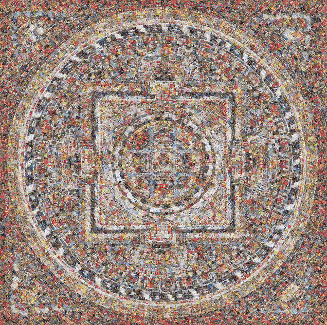 """Picasa - Three Second Meditation, 2011 44x44"""" and 60x60"""" - Depicts 9,960 mail or"""