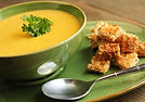 Curried Patty Pan Bisque with Casablanca Crouton Recipe by MorningStar Kitchen